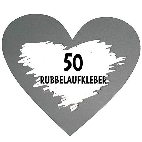50 Rubbel Etiketten Herzen Silber zum Basteln von Rubbelkarten Rubbellose Überraschungen Gutscheinkarten Einladungen Hochzeit oder Verkündung von Schwangerschaft