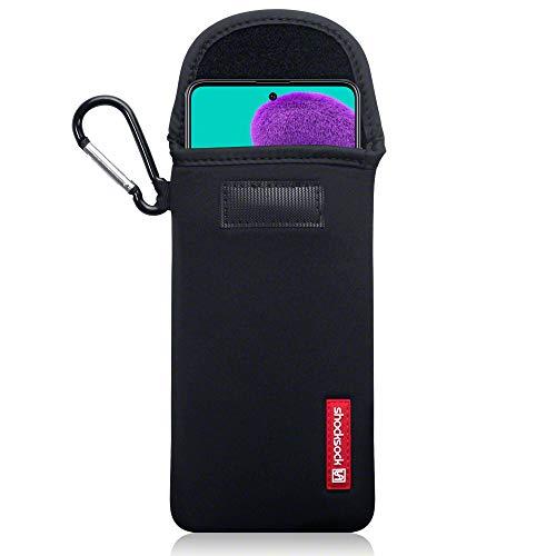 Shocksock, Kompatibel mit Samsung Galaxy A51 Neopren Tasche mit Carabiner Hülle - Schwarz