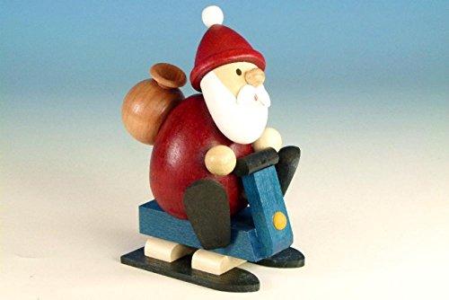 Weihnachtsfigur Weihnachtsmann mit Snowmobil, modern, BxH: 7,0cm x 10,5cm NEU Holzfigur Weihnachtsdeko Erzgebirge