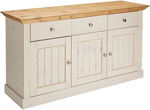 Steens Monaco Sideboard, 3 Türen, 3 Schubladen, 145 x 78 x 46 cm (B/H/T), Kiefer massiv, weiß gelaugt