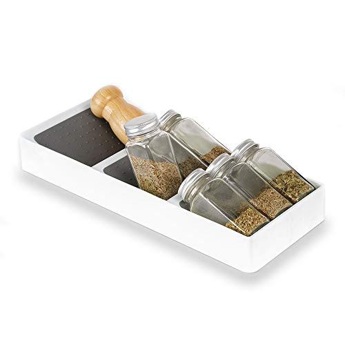 3 Niveles Especiero Cocina Organizador Cajon Estante para Botes de Especias, Soporte Especias Tiered Spice Rack Drawer Organizer Kitchen Storage Almacenamiento Condimentos Plastico Blanco
