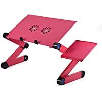 Gototop 360 Degree Adjustable Foldable Laptop Stand with 2 CPU Cooling Fans and Mouse Pad (Rose Red)