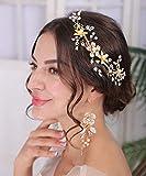 Denifery Handmade Earrings Flower Chandelier Earrings Wedding Bridal Earrings Dangle Earrings Statement Pearl Crystal Rhinestone Earrings Jewelry for Women and Girls (Style 2)