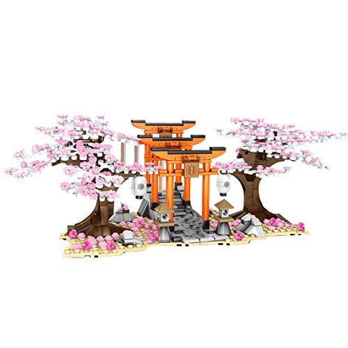 PEXL Juego de construcción de bloques de construcción de árbol Sakura, modelo de arquitectura modular, 640 bloques de construcción y 3 minifiguras, juguete de construcción compatible con Lego