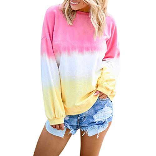HGWXX7 Women's Casual Gradient Long Sleeve Shirt Tops Pullover Sweatshirt Blouse Plus Size Pink