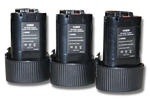 Set 3x baterías vhbw Li-Ion 2000mAh (10.8V) para MR051, MR051W, RJ01, RJ01W, TD090D, TW100 sustituye Makita 194550-6, 194551-4, BL1013, BL1014.