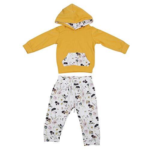 Pasgeboren baby pak Baby Jongen Meisje Katoen Bloemen Print Lange Mouw Hoodie Tops met Pocket Bloemen Lange Broek Leggings 2 Stuk Outfits Kleding Set voor Peuters Kind Kinderen 80