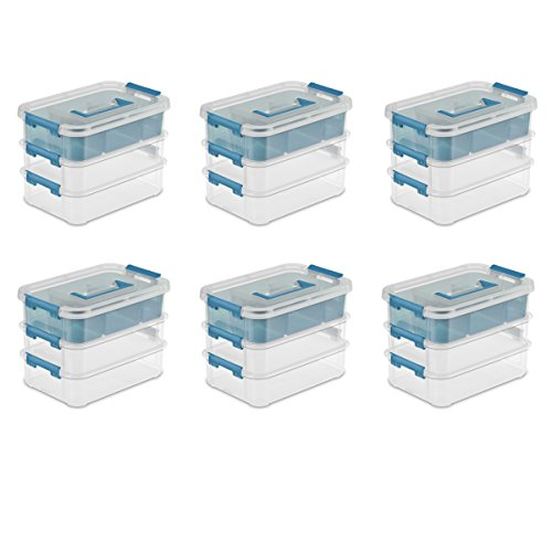 Sterilite 14138606 Stack & Carry Box with Trays Small Storage, Clear