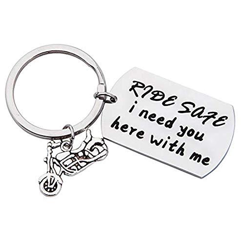 Amody Edelstahl warm erinnern Schlüsselbund Ringe Silber Auto Ride Safe I Need You Here with Me für Männer Geschenke für Freunde Dad Ehemann