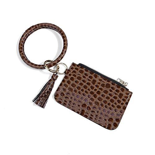 Ruby569y - Mini monedero, diseño de hojas de piel sintética con estampado de leopardo, monedero, monedero, monedero, mini bolsa para niñas, linda llavero de bolsillo para niñas, bolso de 8