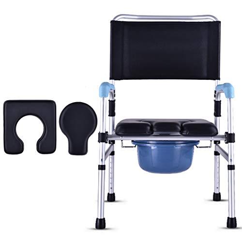Silla de Inodoro para Ancianos Asiento Acolchado Altura Regulable Aleación de Aluminio Cuarto de baño Silla de baño Plegable para Adultos Marco de Seguridad Silla de Ducha para discapacitados