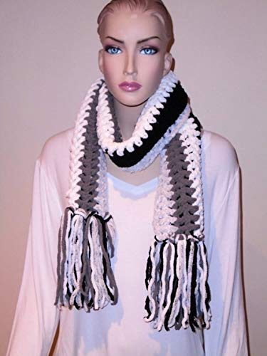 Black Crochet Scarf Baltimore Mall Fringed sale fringes with
