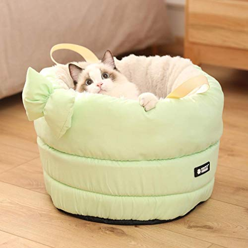 JYTBD YUN TAO warm huisdier bed verwijderbaar en wasbaar ontwerp, anti-slip bodem vier seizoenen universele kat bed gesloten kat slaapzak, vijf kleuren optioneel huisdier nest (kleur : blauw)