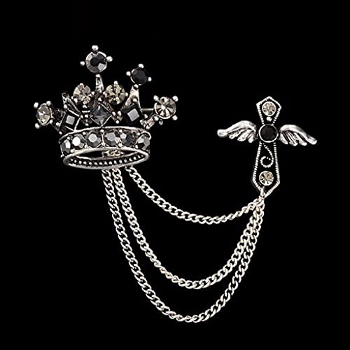 SPNEC LQGSYT Angel Wing Cross Crown Broche Pin Pin para Hombre Traje de Viento Traje Boutonniere Badge Broches para Hombres Mujeres Broches Cadena Tassel