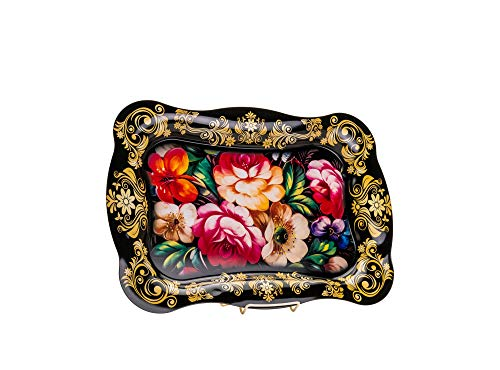 Quality Import Q259A 20 x 13-12 Metal Tray with Floral Design Painted Serving Platter Vintage Decorative Tray with Flower Painting