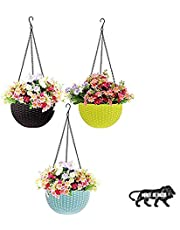 Go Hooked Plastic Hanging Planter, Multicolour, Pot Diameter-7.1 Inch, Pot Height-4.8 Inch, Pot Thickness-3 mm, Chain Length-13 inch approx., 3 Pieces