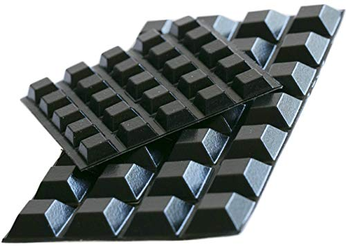Black Rubber Feet (53 Pack) Self Stick Bumper Pads - Adhesive Tall Square Bumpers for Electronics, Speakers, Laptop, Appliances, Furniture, Computers