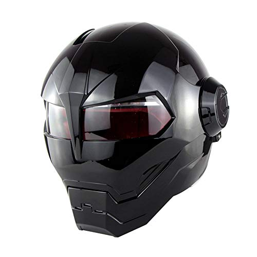 Wansheng Casco Moto con Flip Abierto con Máscara Abierta Casco Moto, Casco De Motocicleta Certificado, Transformadores Iron Man - M, L, XL Negro,L