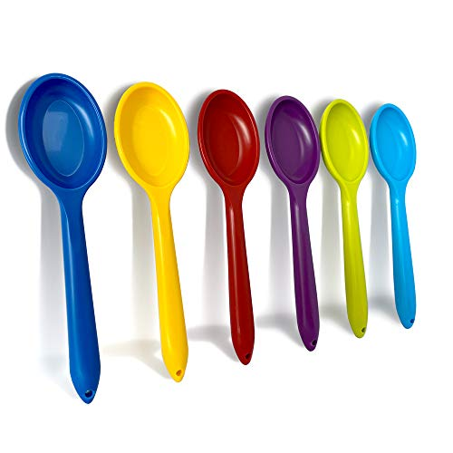 Mixing Spoon | Beautifully Coloured & Perfect for Mixing, Baking, Serving & More, in Both Adult & Kids Kitchens | Set of 6 - Red, Blue, Purple, Green, Yellow, Light Blue | Proudly Made in The UK