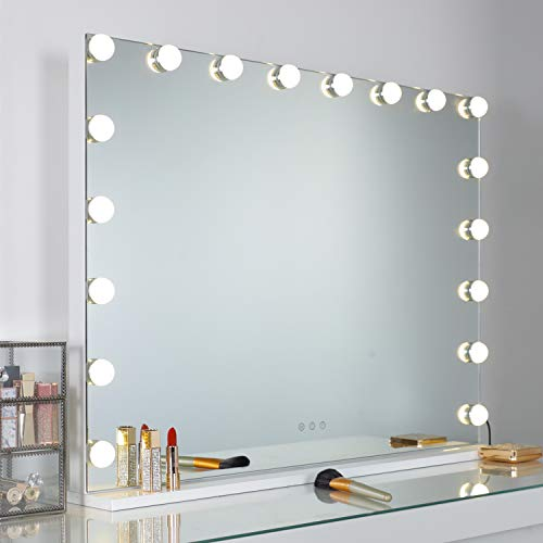 WAYKING Vanity Mirror with Lights Large Hollywood Makeup Mirror with 18 LED Bulbs, Tabletop or Wall Mounted Comestic Mirror with Touch Sensor and USB Charging Port, White(L31.4 X H23.6)