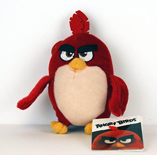 Angry Birds - Plüschtier - mit Anhänger / Clip / Schlüsselanhänger - Red - ca. 13cm / für Rucksack, Schulranzen, Schultasche