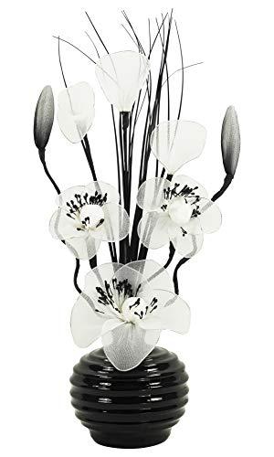 Flourish Vaso bianco con bianco fiori artificiali accessori per la casa ornamenti per soggiorno davanzale 32/cm