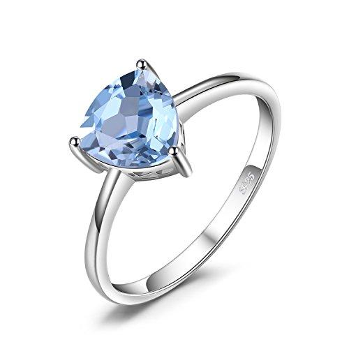 JewelryPalace Anillo Solitario Trillion 1.5ct Topacio azul cielo natural Piedra de nacimiento esterina Plata de ley 925 Tamaño 11
