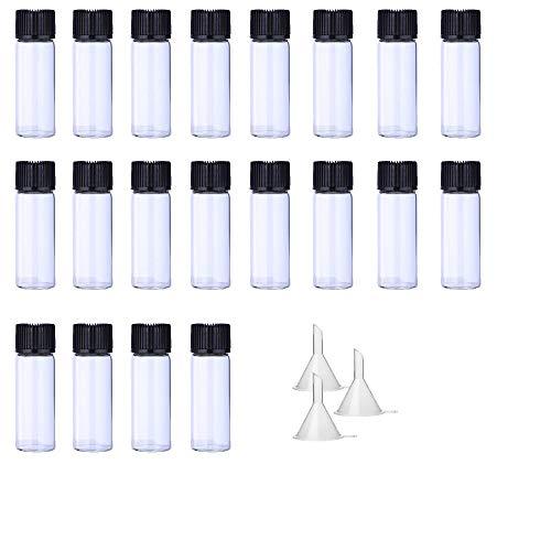 Botellas de vidrio transparente de 5 ml Paquete de 20 botellas de aceite esencial Viales pequeños Botella de vidrio transparente Mini contenedores muestra tapón de rosca y 3 embudos de bonificación