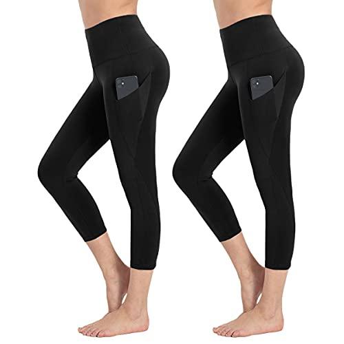 HIGHDAYS 2 Pack Capri Yoga Pants for Women - High Waist Soft Tummy Control Leggings for Workout, Running(Large, Capri Black/Capri Black)