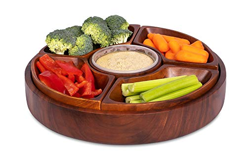 BirdRock Home Chip and Dip Severing Bowl Set - 6 Section Detachable Acacia Wood Platter and Tray - Great for Veggies, Cheese Dip, Salsa and Hummus - Parities and events Serveware Set
