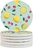 Limón Cerezas Copa Pad Té-Cup Coaster 6pcs/Set Diatomita Cup Coaster Protección Absorbente para el Hogar