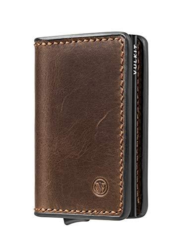 VULKIT Kreditkartenetui RFID NFC Schutz Kartenhalter Echtleder Geldbörse Pop Up mit 3 Steckplätzen für Herren & Damen, Schwarz