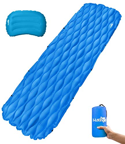 Ultralight Sleeping Pad with Innovation Buckle Design Built-in Pillow Inflatable Camping Pad Mat Long-lasting Waterproof Suitable for Camp Sleeping Bag Hammock Tent Perfect for Camping Picnic Hiking