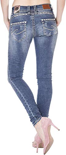 Blue Monkey Damen Skinny Jeans mit Strass Stacy-3787 (Blau, W26/L34)