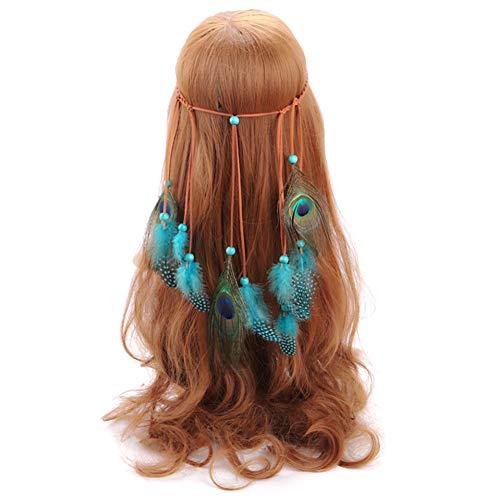 Ssowun Bandeau Hippie Plumes,Bandeau Bohême Indien Cheveux Hippie Bandeau à Cheveux Réglable Headpiece Party Fancy Photographie