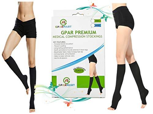 GPAR Premium gambaletti punta aperta, 23-32 mmHg, classe 2, calze medicali compressive unisex per edema, riduce dolore alle gambe, gonfiore, riabilitazione, coaguli di sangue, nero