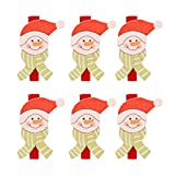 N|A Yuanshenortey - Pinzas de madera para decoración de Navidad, 6 unidades, diseño de Papá Noel, muñeco de nieve, para colgar tarjetas de felicitación, adornos para el hogar
