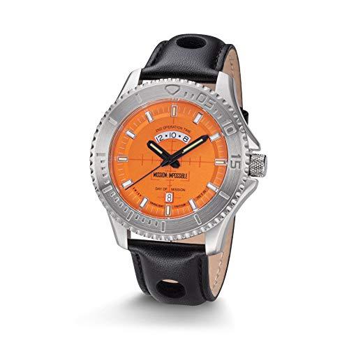 Kronsegler Mission Impossible H3 Tritium Uhr Stahl-Orange Lederband Schwarz