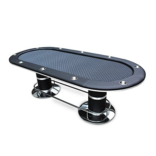 IDS Poker Table for 10 Players Black Speed Cloth Oval 96 x43 Inch Stainless Steel Cup Holders Pedestal Base Poker