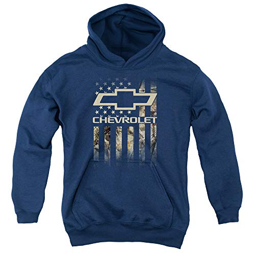 Chevrolet Camo Flag Unisex Youth Pull-Over Hoodie for Boys and Girls, Medium