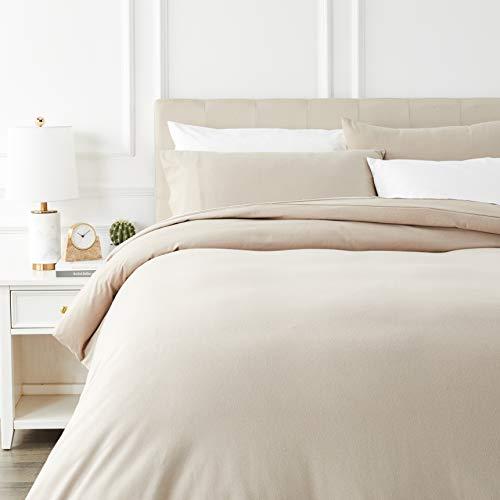 Amazon Basics - Juego de cama de franela con funda nórdica - 230 x 220 cm/50 x 80 cm x 2, Topo
