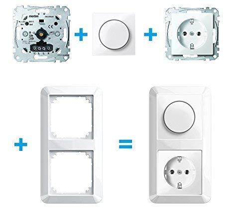 Merten LED Drehdimmer MEG5134-0000 Komplett SET inkl. 2 fach Rahmen mit Dimmscheibe und Steckdose