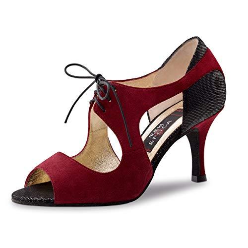 Nueva Epoca - Dames dansschoenen/salsa sandalen Nesrin - Veloursleder Bordeaux rood - 7 cm Stiletto - Made in Italy