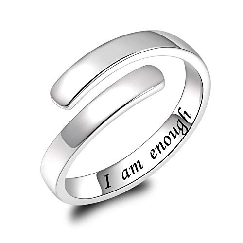 925 Sterling Silver I am Enough Ring Adjustable Rings Jewelry Gifts for Women Girls