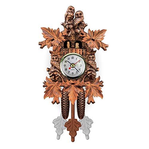 Reloj de pared de cuco de madera envejecida, reloj de alarma de campana de tiempo para pájaros