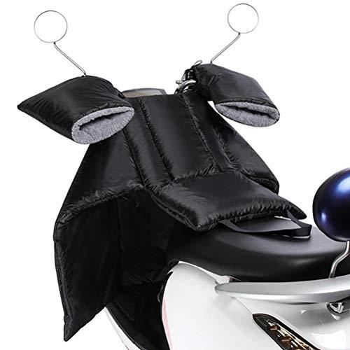 Coprigambe Scooter Universale, Grembiule per Scooter Caldo Antivento per Protezione Gambe con 2 Guanti da Manubrio, Impermeabile, PU Addensato, Facile Installazione, Coprigambe per Moto (Nero)