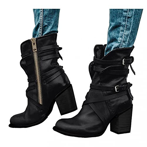 Binggong Damen Stiefeletten Biker Boots Stiefel mit Absatz Damen Klassische Stiefeletten Frauen Schuhe Blockabsatz Herbst Winter Bequeme Schuhe Schnallen Worker Boots Schnürstiefelette