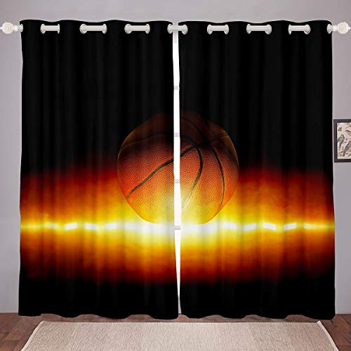 Basketball Window Drapes 3D Shine Ball Curtains for Kids Boys Girls Sports Window Curtains for Bedroom Living Room Athlete Competitive Black Window Treatments,W46*L72