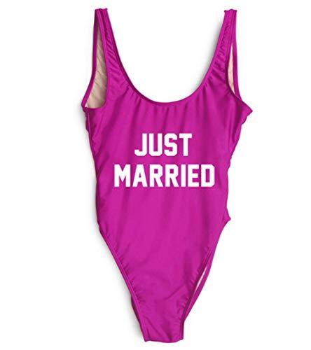 Yihanshangmao Damen Badeanzug Just Married Letters Print Einteiler Badeanzug hoch geschnitten, rückenfrei - Violett - Large
