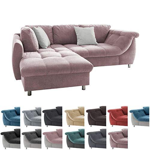 lifestyle4living Ecksofa in Rosa mit Schlaffunktion | Eckcouch Eckgarnitur Polsterecke L-Couch Sofa L Form | Moderne Wohnlandschaft inkl. Rückenkissen und Zierkissen